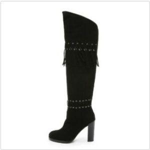 Rebecca Minkoff Bardot OTK Black Suede Tall Boots